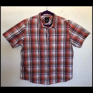 Prana Short Sleeve Rust/Red Button Down Shirt Lrg